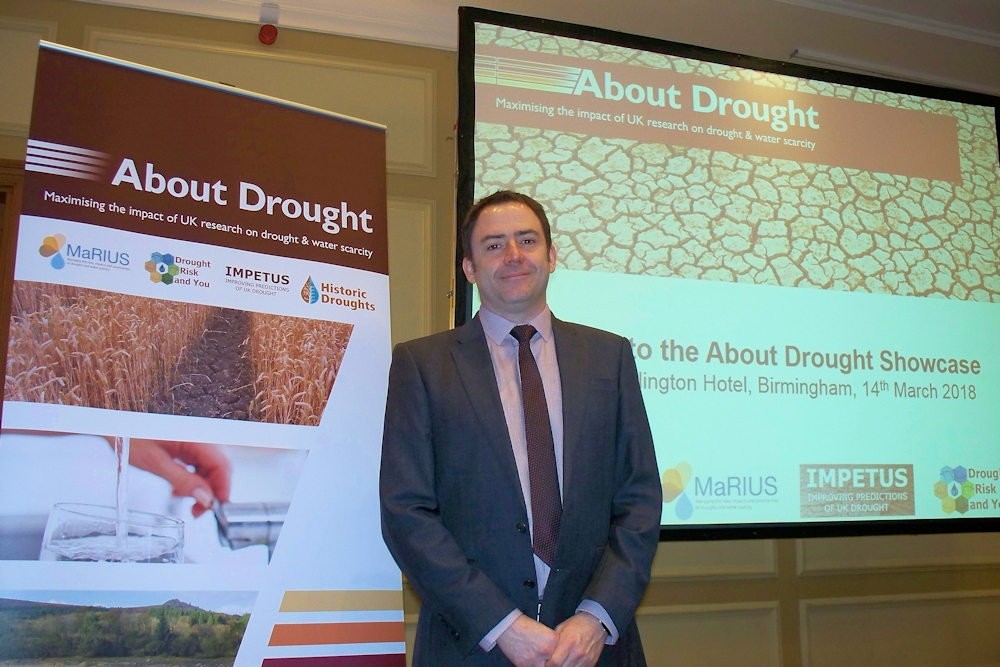 Jamie Hannaford of CEH at the About Drought Showcase in March 2018