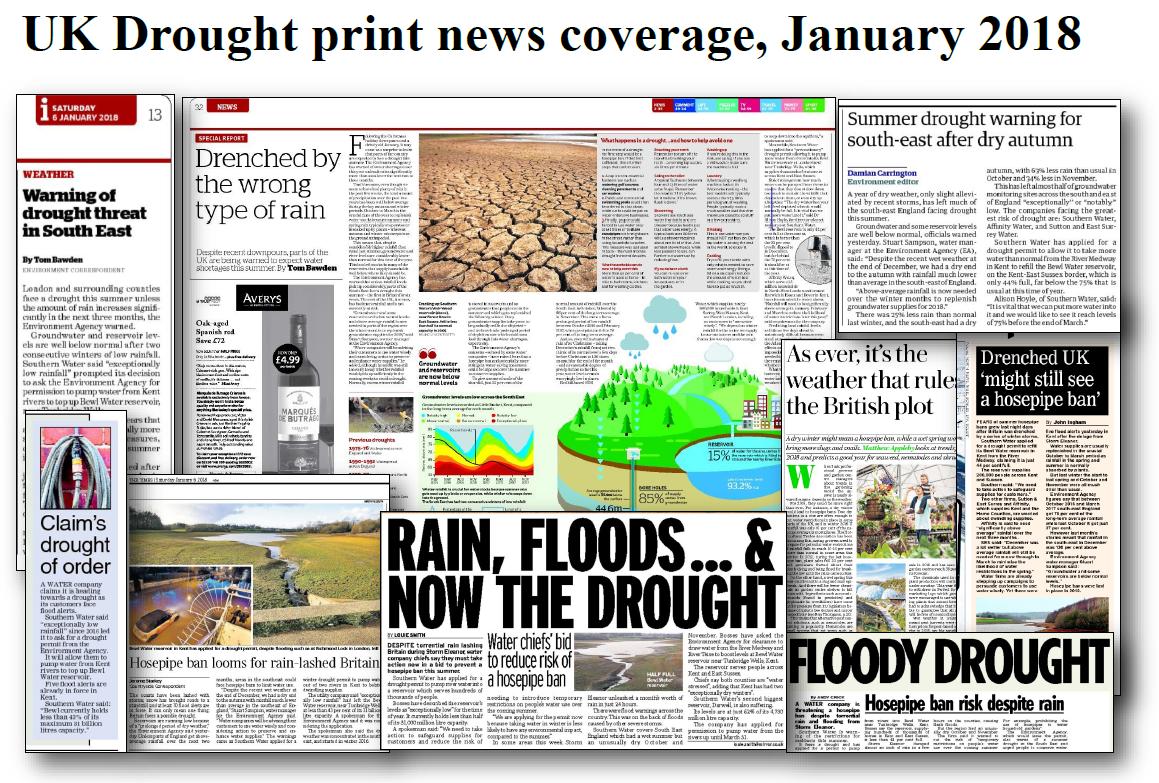 UK Drought Jan 2018 print media montage by Sally Stevens, Institute for Environmental Analytics