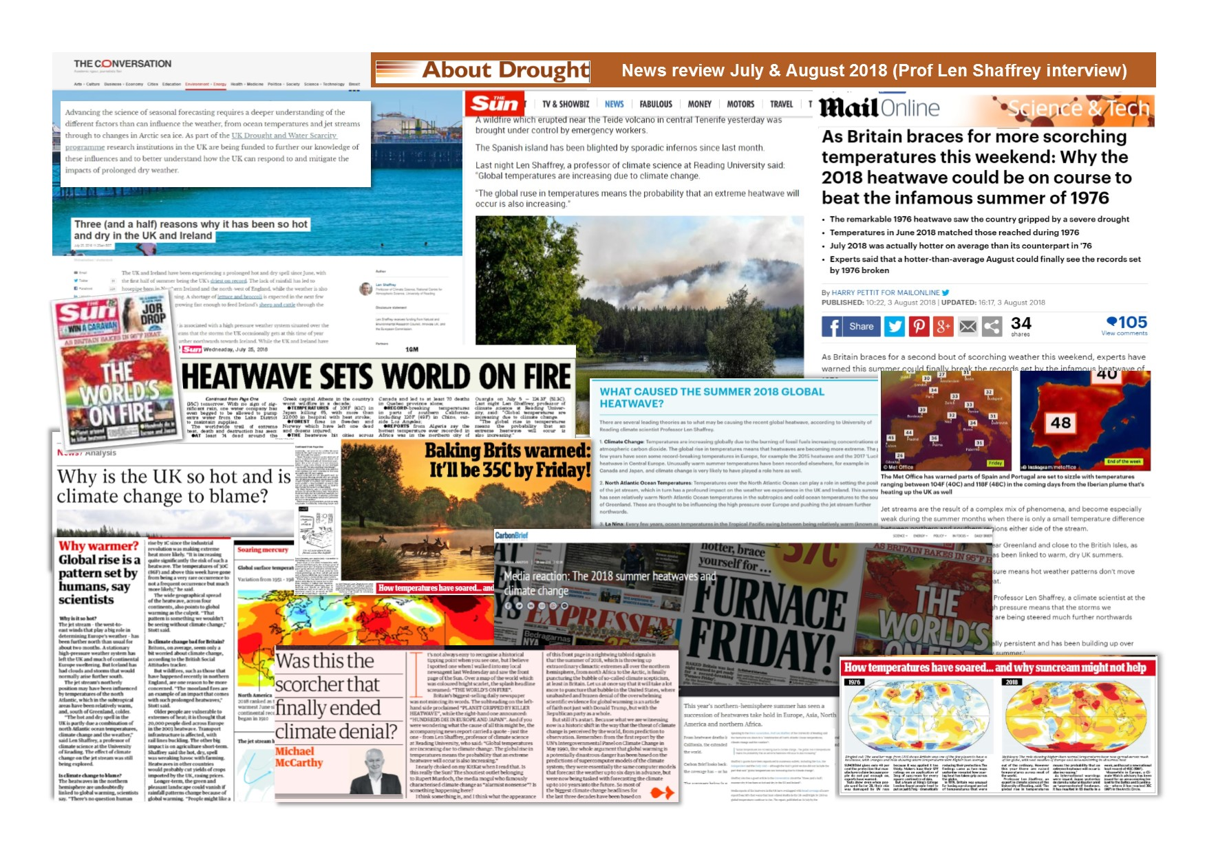 Montage of media coverage following Len Shaffrey's article on Conversation UK
