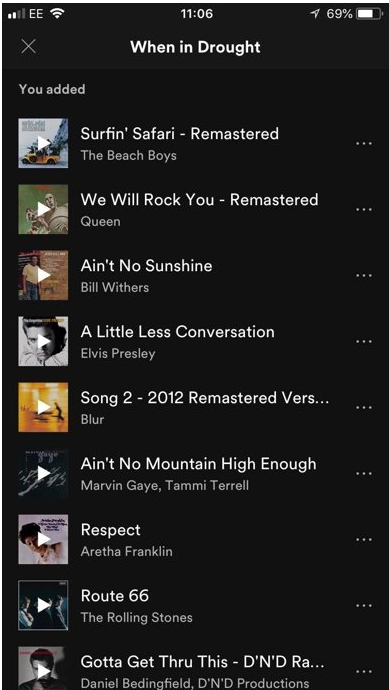 Spotify playlist to encourage 3 minute showers by Dannie & Max (Falmouth University)