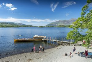 People relaxing by Derwentwater