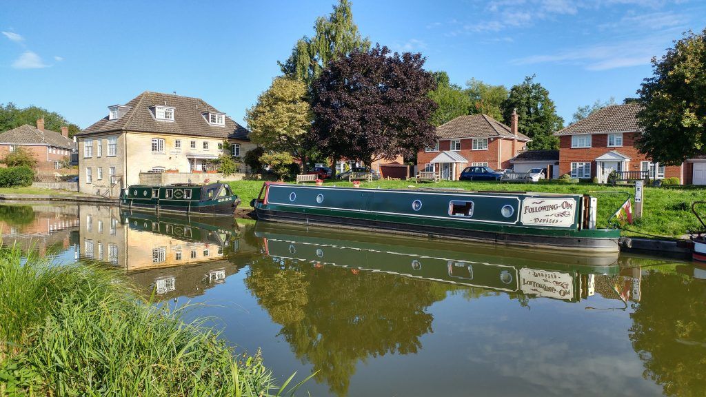 Narrowboats on canal in Hungerford, Berkshire
