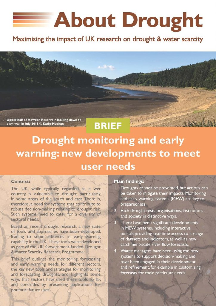 Front cover of drought monitoring and early warning brief